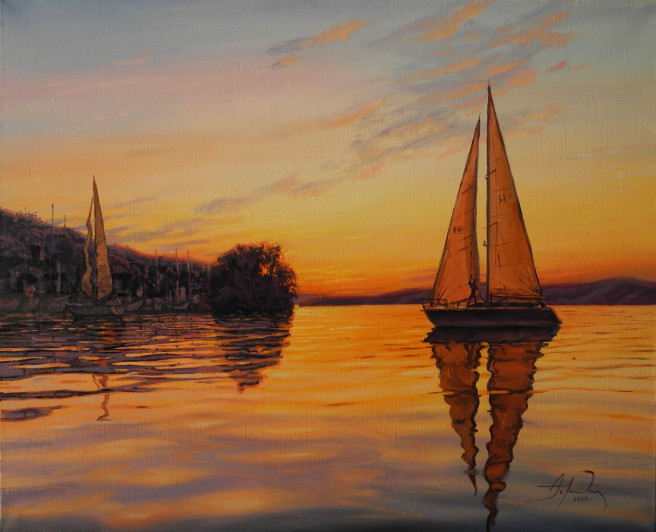 Oil Paintings by ART CENTER PPLUS Titled Evening in the Bay. Landscape, Beach / Seascape, Nature Paintings