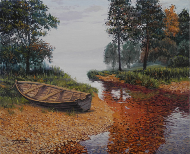 Oil Paintings by ART CENTER PPLUS Titled Golden Autumn 2. Landscape, Nature Paintings