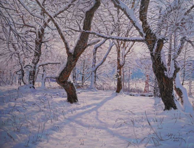 Oil Paintings by ART CENTER PPLUS Titled Winter Morning. Landscape, Nature Paintings