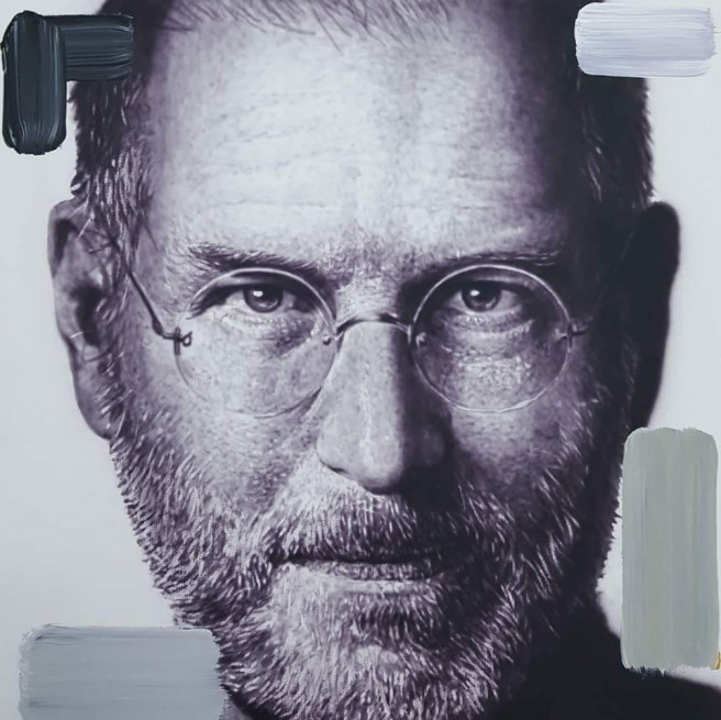 Acrylic, Airbrush Paintings by ART CENTER PPLUS Titled Steve Jobs. Portrait / People Paintings