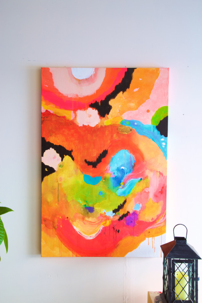 Color Paintings by Anshoo Tikoo Zutshi Titled Blush and Bloom. Abstract, Fantasy Paintings