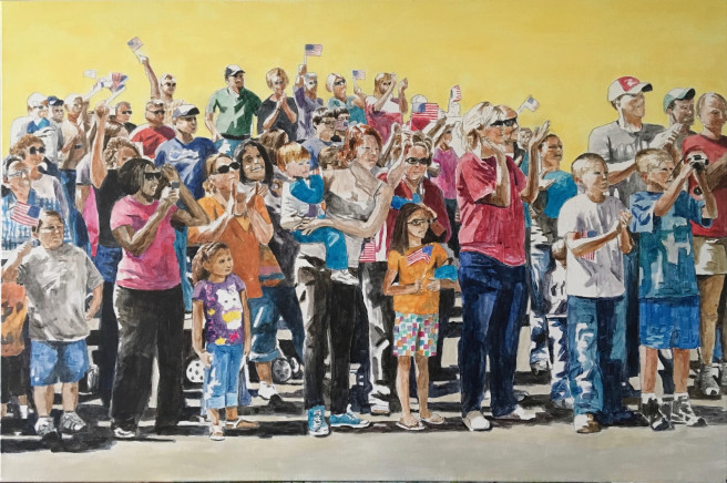 Acrylic Paintings by Arran Harvey Titled Parade Crowd 2. Landscape, Portrait / People, Others Paintings