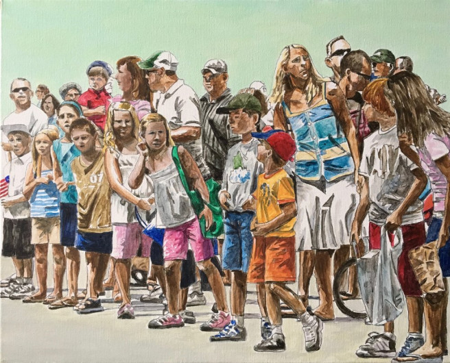Acrylic Paintings by Arran Harvey Titled Parade Crowd. Landscape, Portrait / People, Others Paintings