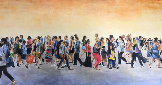 Acrylic Paintings by Arran Harvey Titled Street Crossing, 2018. Landscape, Portrait / People, Others Paintings