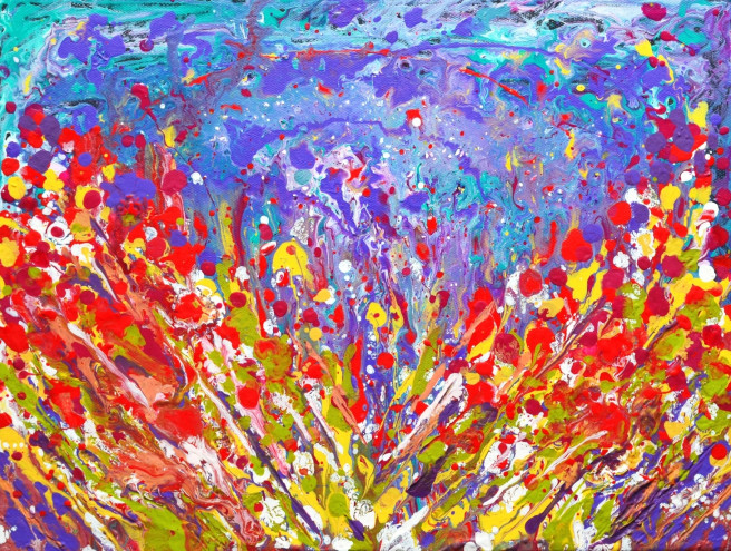 Acrylic, Mixed Media Paintings by Manjiri Kanvinde Titled Poppies Meadow Abstract painting on canvas. Abstract, Landscape, Fantasy, Floral Paintings