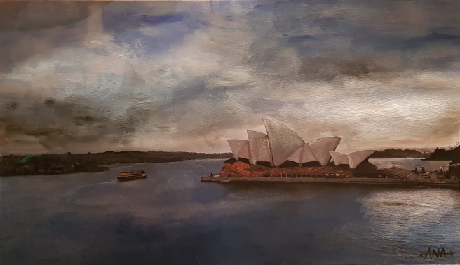 Acrylic Paintings by Ana  Corral-KELLY Titled Viva Sydney. Landscape, Architecture / Cityscape Paintings