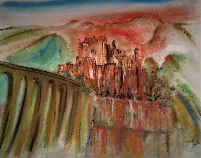 Pastel Drawings by Smet Benny Titled Welcome to the hotel Transylvania.. Landscape, Architecture / Cityscape, Nature Drawings