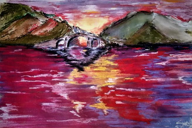 Pastel Drawings by Smet Benny Titled Devil's Bridge. Landscape, Architecture / Cityscape, Nature, Floral Drawings