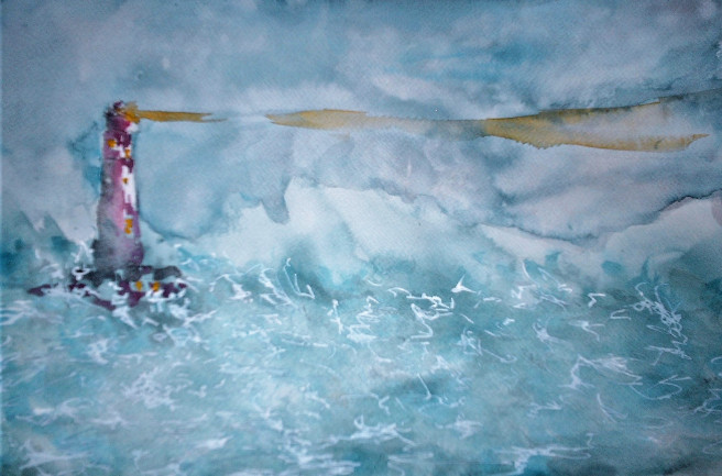 Watercolor Paintings by Smet Benny Titled Where are you?. Beach / Seascape Paintings