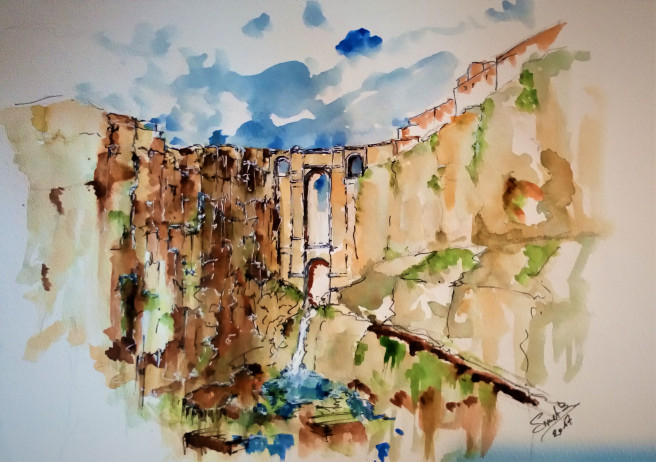 Watercolor Paintings by Smet Benny Titled Building bridges.. Landscape, Architecture / Cityscape Paintings