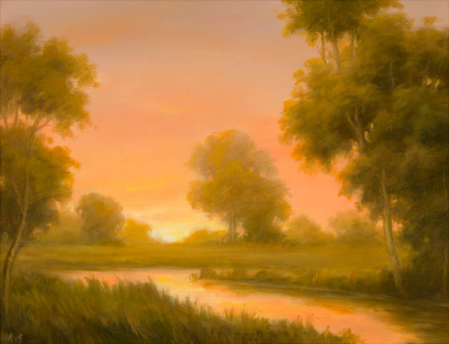 Oil Paintings by CCFA Fine Art Titled Last Light over the Stream. Landscape, Love / Beauty, Nature, Still Life Paintings