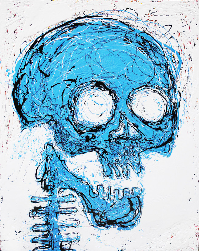 Enamel Paintings by DeokHyun Kang Titled Blue Skull. Children / Family, Fantasy, Portrait / People Paintings