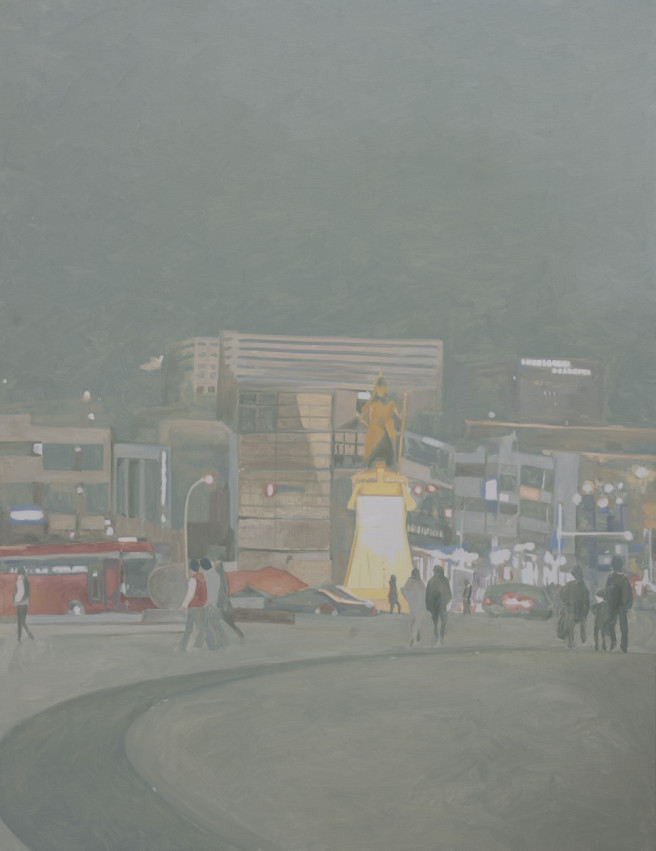 Oil Paintings by Deok ki  Kim Titled Monument II at Night. Landscape, Architecture / Cityscape Paintings