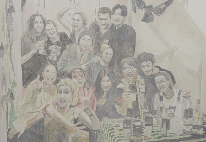 Oil Paintings by Deok ki  Kim Titled Friends and Party. Celebrity, Portrait / People, Others Paintings