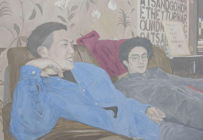 Oil Paintings by Deok ki  Kim Titled Sofa, Two Friends. Celebrity, Portrait / People Paintings