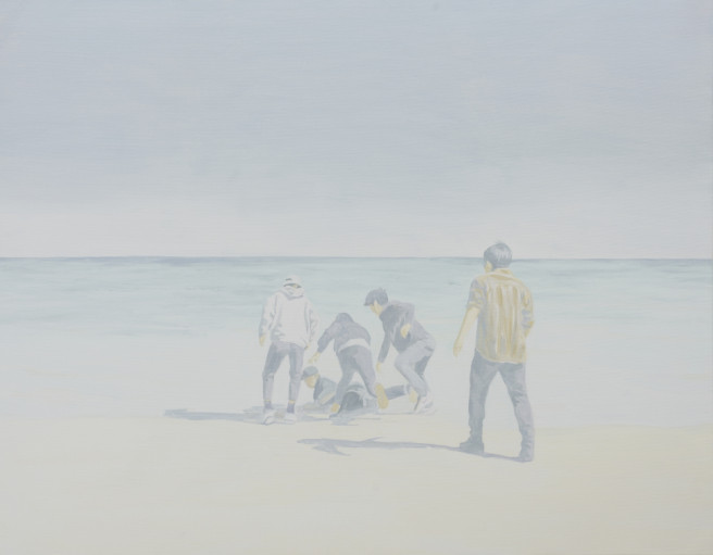 Oil Paintings by Deok ki  Kim Titled Throwing in the sea. Landscape, Beach / Seascape, Portrait / People Paintings