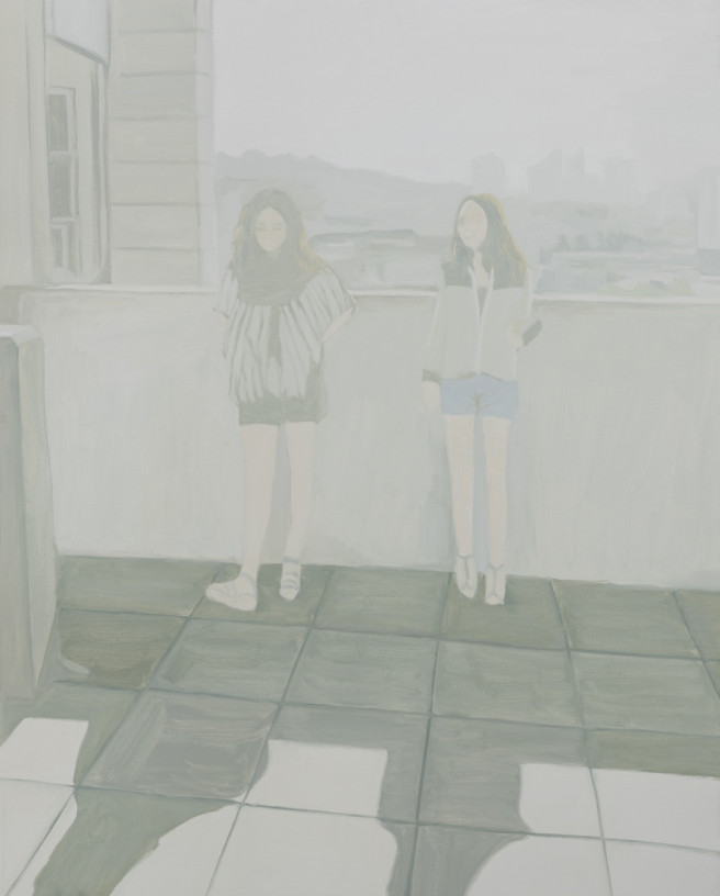 Oil Paintings by Deok ki  Kim Titled Two Girls Taking a Break. Portrait / People, Still Life, Others Paintings