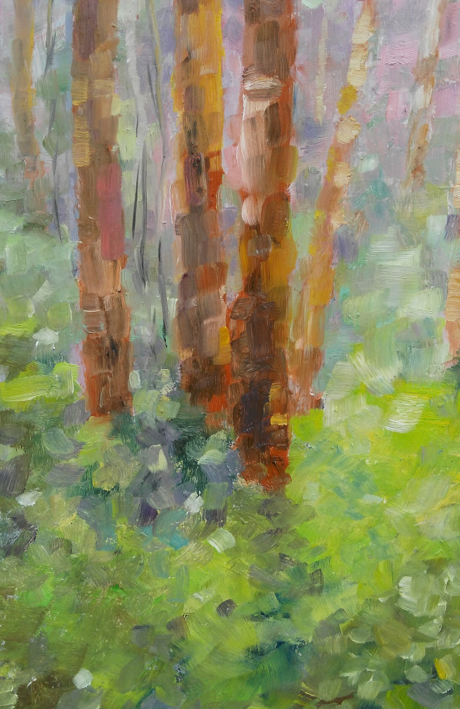 Oil Paintings by Emilia Milcheva Titled AN APRIL DAY IN WOODS, original oil painting. Landscape, Nature Paintings