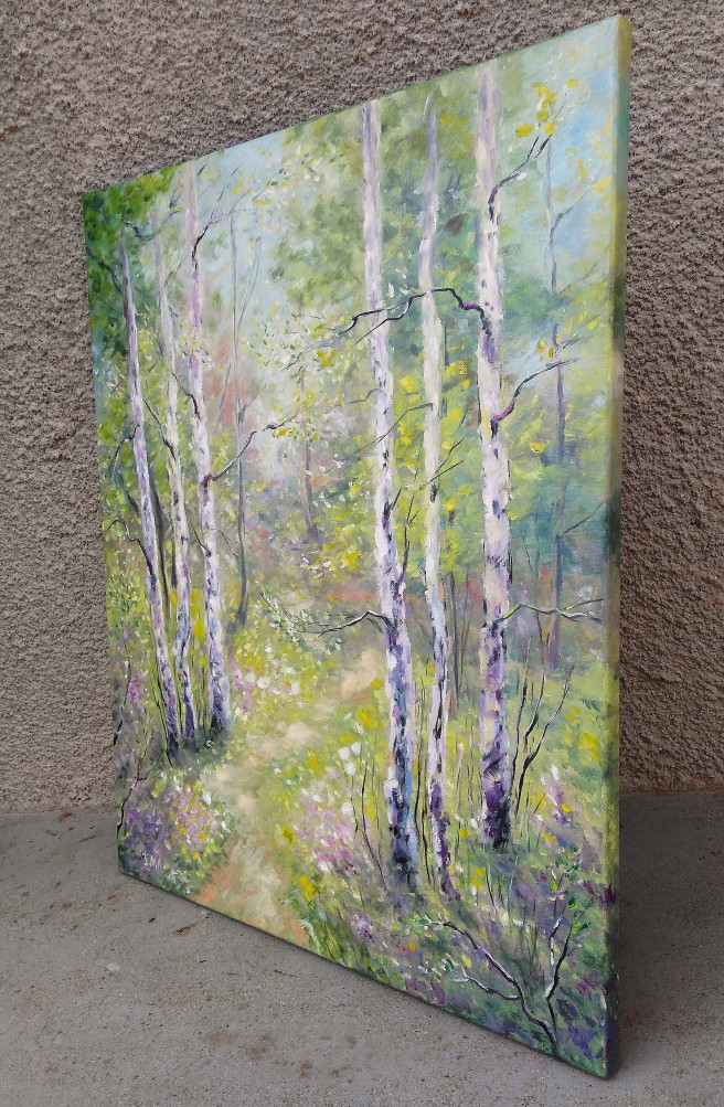 Oil Paintings by Emilia Milcheva Titled BRIGHT SPRING, original oil painting. Landscape, Nature Paintings