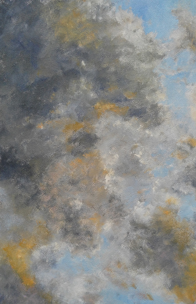 Acrylic Paintings by Emilia Milcheva Titled CLOUDY SKY AFTER THE STORM, original cloudscape painting. Landscape, Nature Paintings