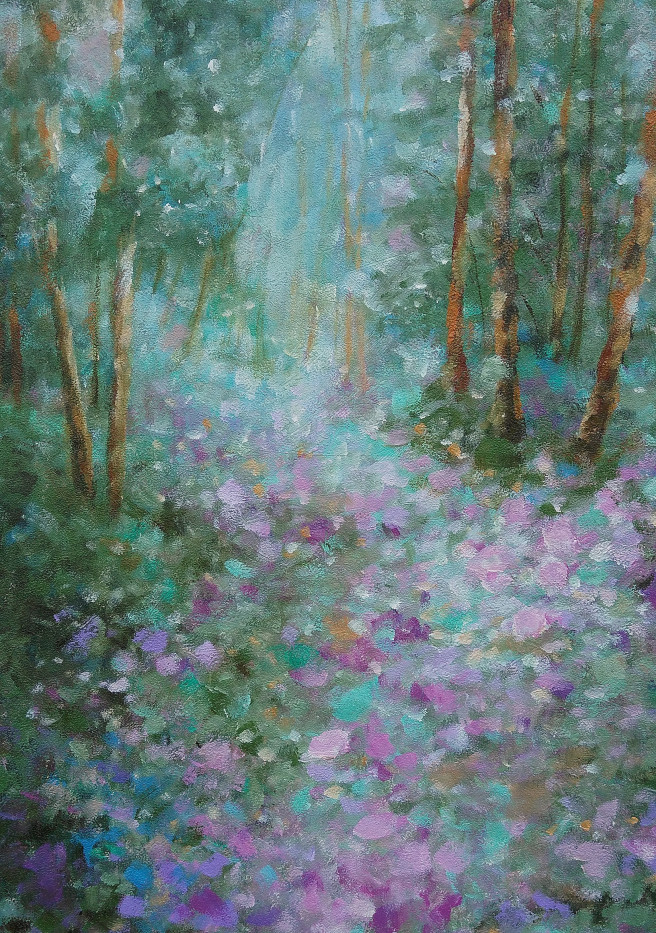 Acrylic Paintings by Emilia Milcheva Titled ENCHANTED WOODS, original oil landscape painting. Landscape, Nature Paintings