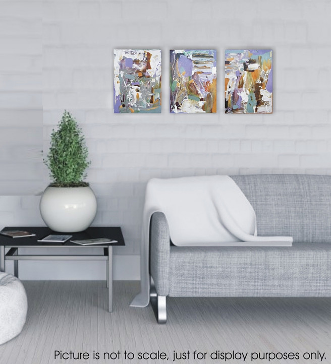 Acrylic Paintings by Emilia Milcheva Titled FEELING LIGHT AND WONDERFUL, original  abstract triptych painting . Abstract, Landscape, Architecture / Cityscape Paintings