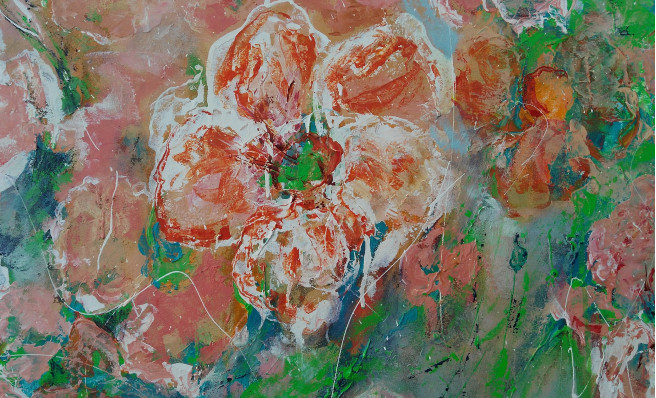 Acrylic Paintings by Emilia Milcheva Titled FLOWER MOOD, original large painting of flowers. Nature, Floral Paintings