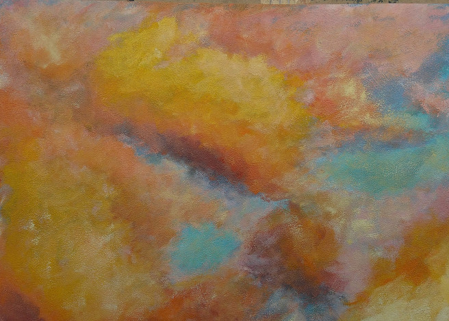 Acrylic Paintings by Emilia Milcheva Titled GOLDEN ILLUSIONS, original cloudscape painting. Landscape, Nature Paintings