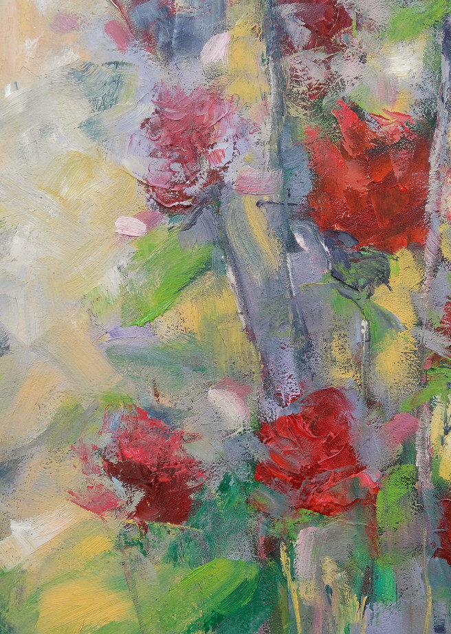 Oil Paintings by Emilia Milcheva Titled Made in Love, original oil  painting of red roses . Nature, Floral Paintings
