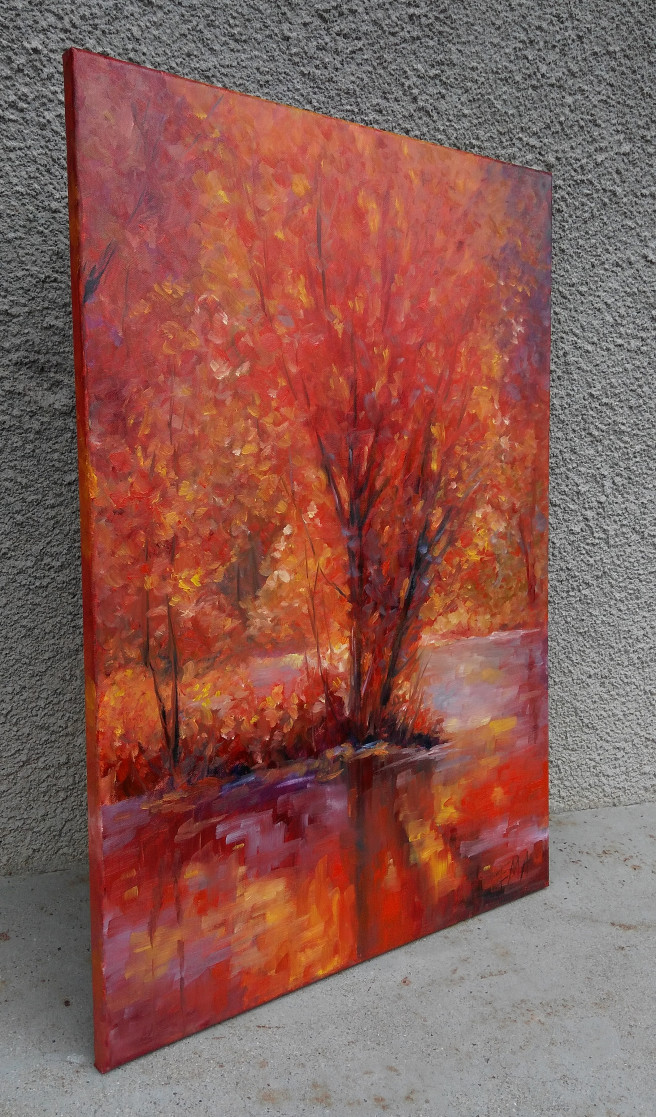 Oil Paintings by Emilia Milcheva Titled AUTUMN GLORY, original oil painting. Landscape, Nature Paintings