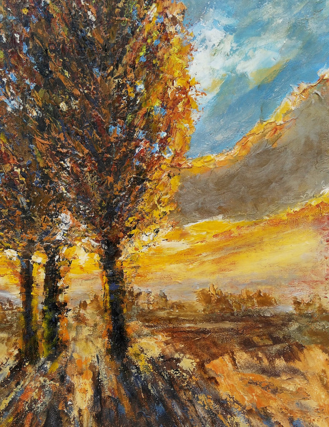 Acrylic Paintings by Emilia Milcheva Titled POPLARS AT SUNSET, original landscape painting. Landscape, Nature Paintings