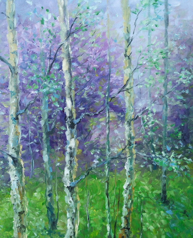Oil Paintings by Emilia Milcheva Titled SPRING POEM, original oil painting. Landscape, Nature Paintings