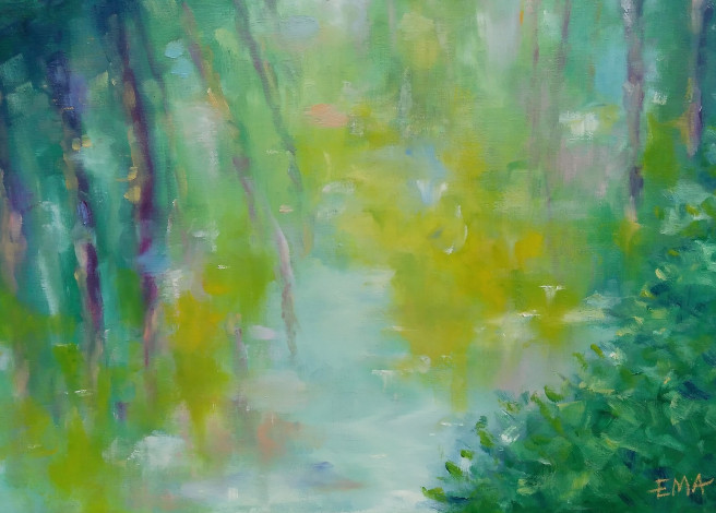 Oil Paintings by Emilia Milcheva Titled SPRINGTIME MIRROR, original oil painting. Landscape, Nature Paintings
