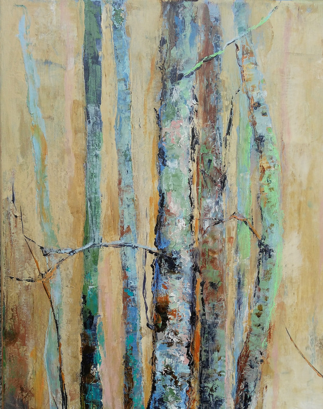 Acrylic Paintings by Emilia Milcheva Titled Trees stories #6, original acrylic painting. Landscape, Nature Paintings