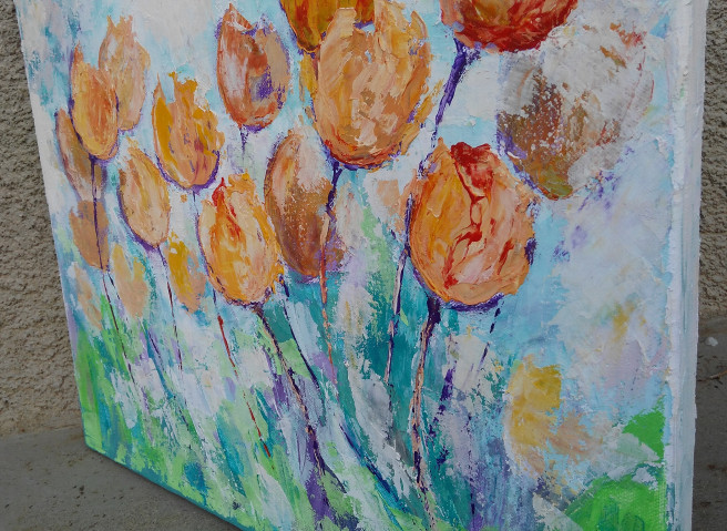Acrylic Paintings by Emilia Milcheva Titled TULIPS TIME, original floral painting . Abstract, Nature, Floral Paintings