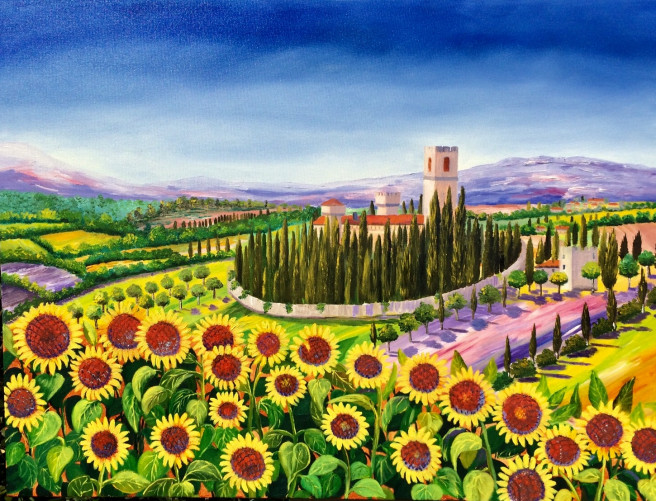 Oil Paintings by Inna Montano Titled Tuscany sunflowers . Landscape, Nature, Floral Paintings