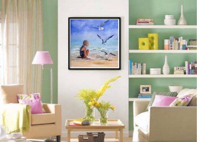 Oil Paintings by Inna Montano Titled Girl and a seagulls. Animal / Birds, Beach / Seascape, Children / Family, Portrait / People Paintings