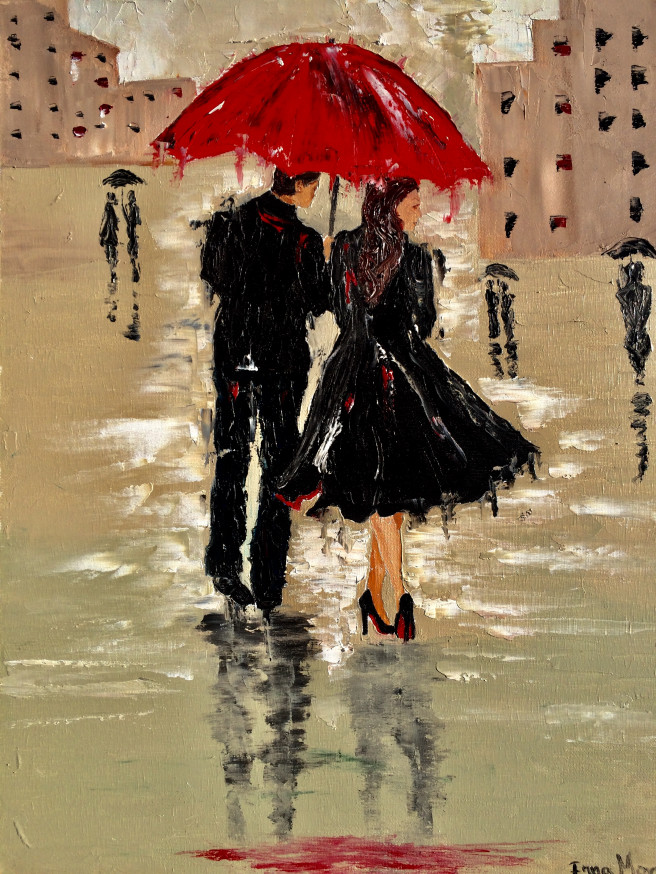 Oil Paintings by Inna Montano Titled Couple under the umbrella. Love / Beauty, Portrait / People Paintings
