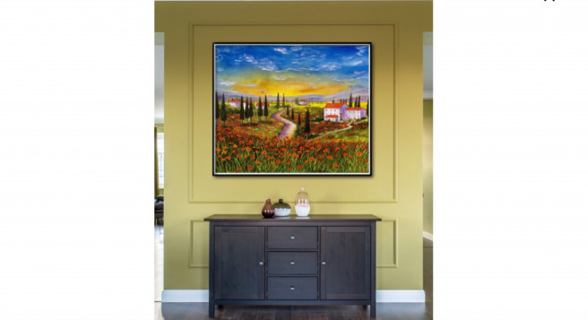 Oil Paintings by Inna Montano Titled Tuscany sunset. Landscape Paintings