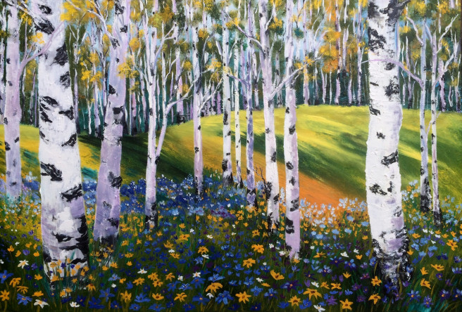 Oil Paintings by Inna Montano Titled Birches grove. Landscape, Nature Paintings