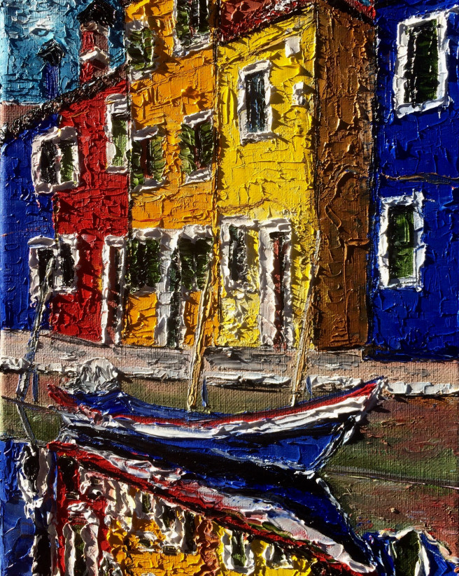 Oil Paintings by Inna Montano Titled Burano reflection. Architecture / Cityscape Paintings