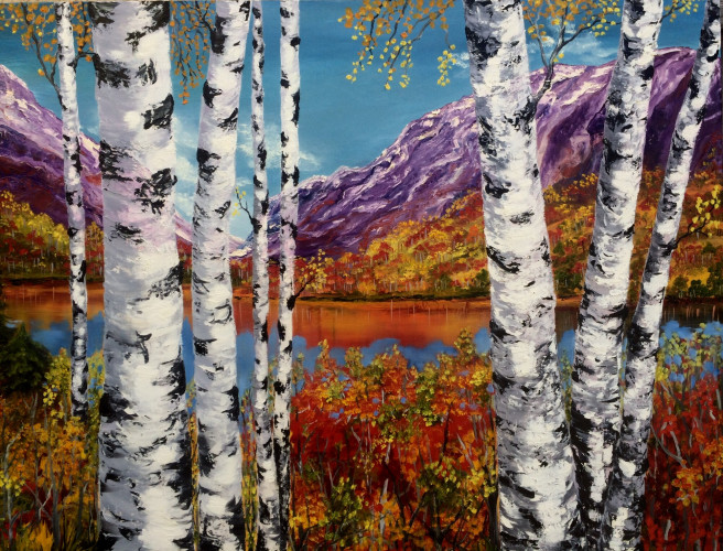 Oil Paintings by Inna Montano Titled Birches landscape. Landscape, Nature Paintings