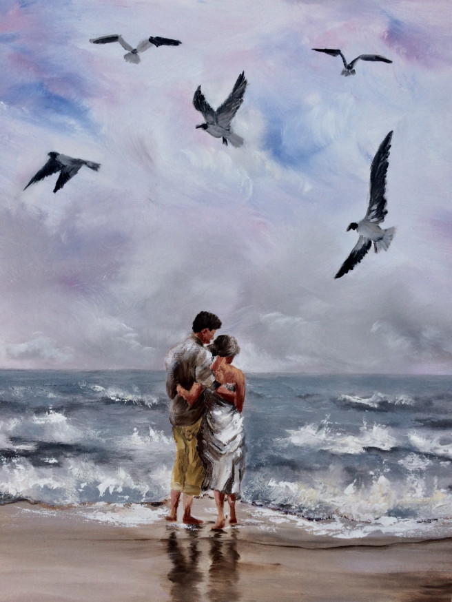 Oil Paintings by Inna Montano Titled A day to remember. Beach / Seascape, Love / Beauty, Portrait / People Paintings