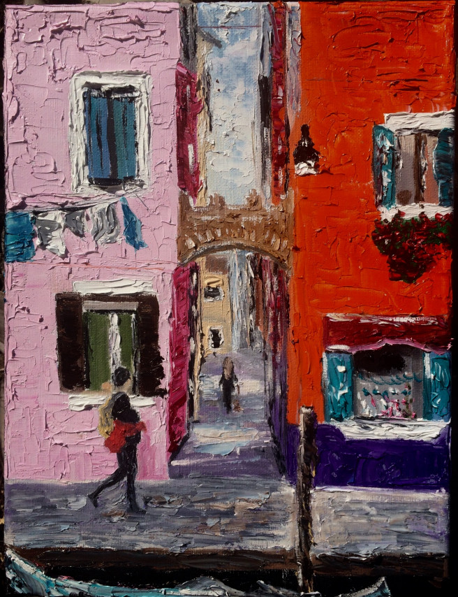 Oil Paintings by Inna Montano Titled Burano street. Architecture / Cityscape Paintings