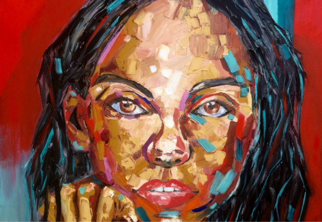 Oil Paintings by Inna Montano Titled Girl portrait. Love / Beauty, Portrait / People Paintings