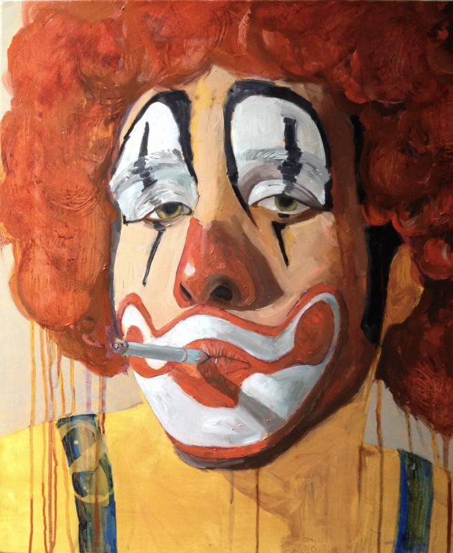 Color, Oil, Watercolor Paintings by JASON BALDUCCI Titled Payaso 3. Portrait / People Paintings