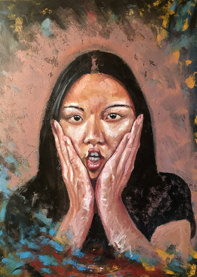 Oil Paintings by JASON BALDUCCI Titled Monica 2. Portrait / People Paintings