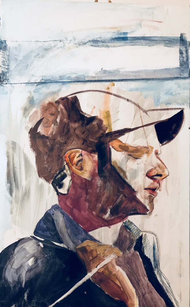 Acrylic, Oil, Watercolor Paintings by JASON BALDUCCI Titled SELF-PORTRAIT. Portrait / People Paintings
