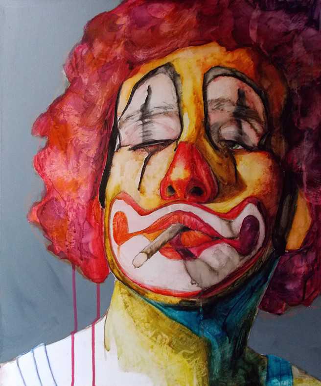 Acrylic, Charcoal, Color, Watercolor Paintings by JASON BALDUCCI Titled Payaso 2. Portrait / People Paintings