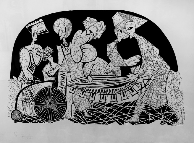 Linocuts Prints by Giorgi Jamburia Titled Fish  men . Animal / Birds, Religion Prints